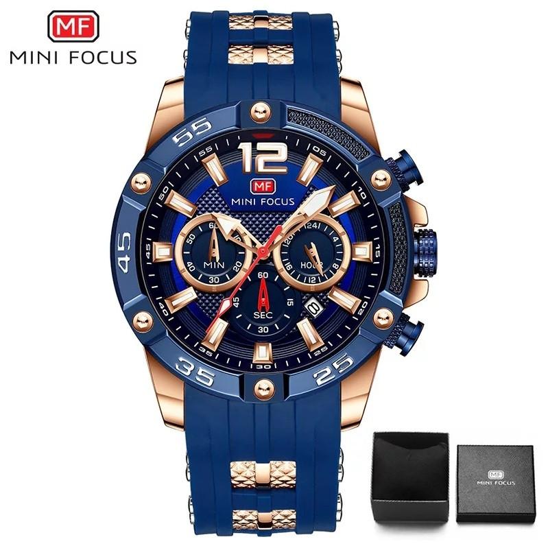 Наручні чоловічі кварцові годинники Mini Focus MF0349G Blue-Rose-Gold