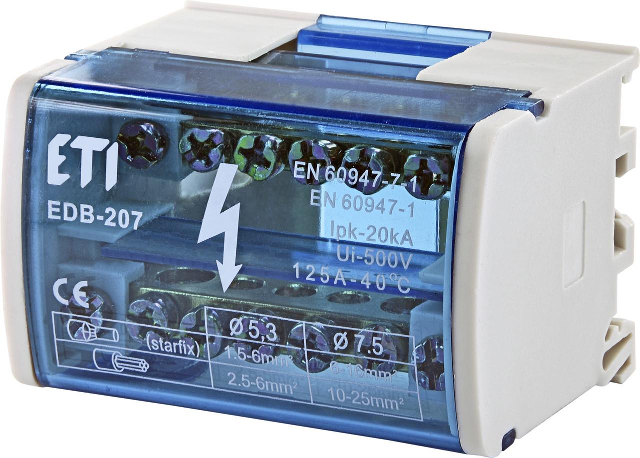 Блок распределительный  EDB-207  2p, L+PE/N, 125A (7 выходов) ETI
