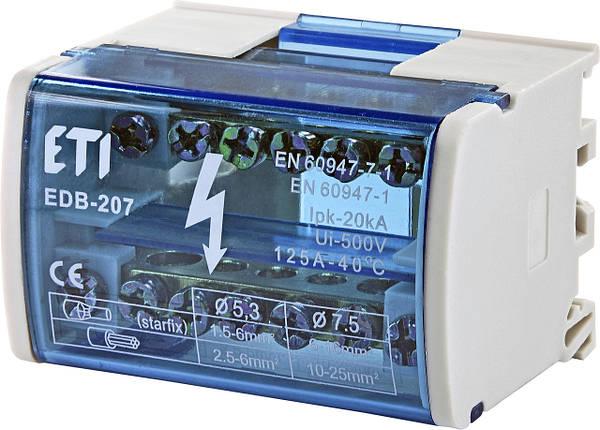 Блок распределительный  EDB-207  2p, L+PE/N, 125A (7 выходов) ETI, фото 2