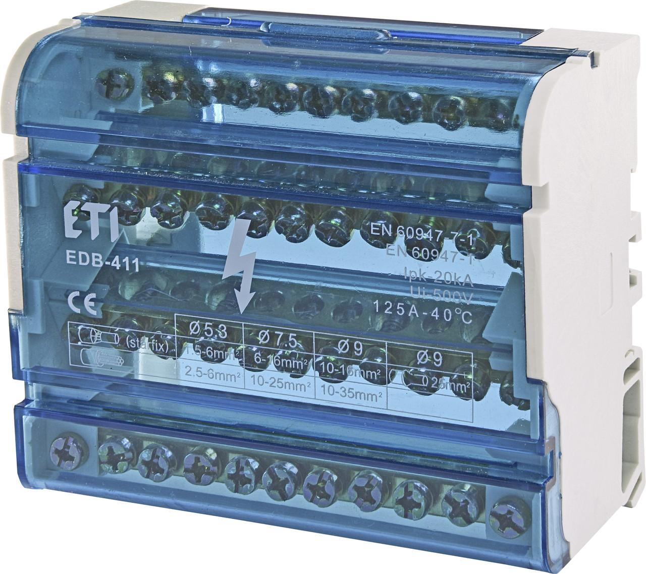 Блок распределительный  EDB-411  4p, 3L+PE/N, 125A (11 выходов) ETI