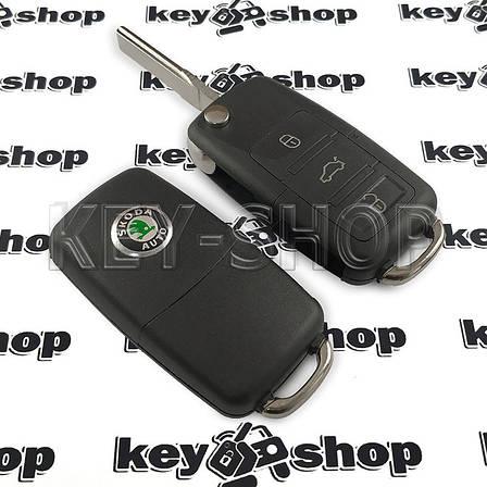 Корпус выкидного автоключа для SKODA (шкода)  3 - кнопки, лезвие HU66, фото 2