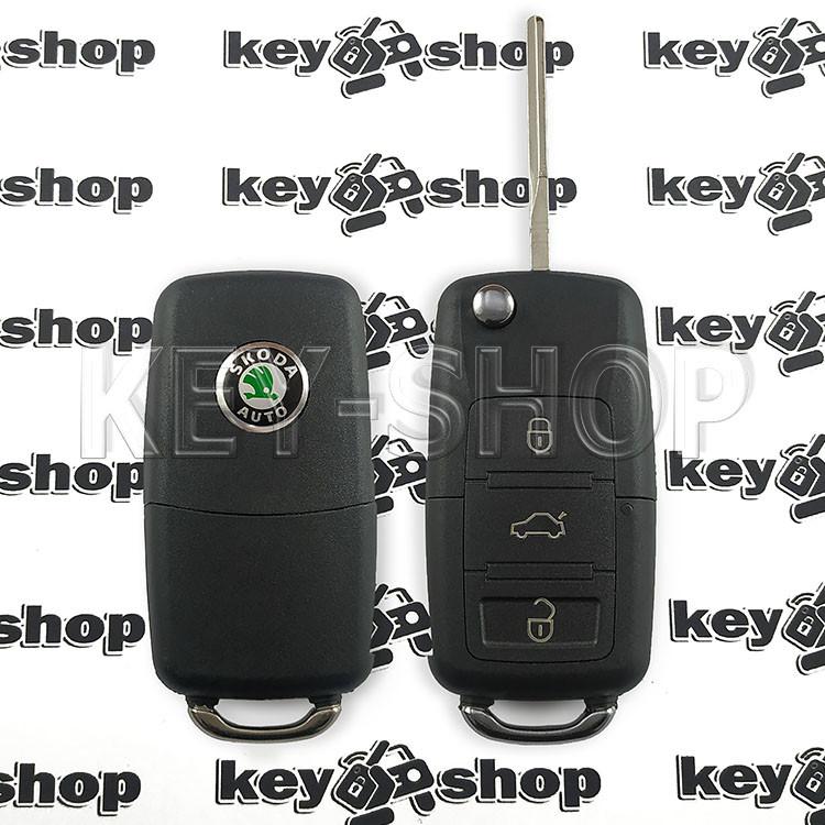 Корпус выкидного автоключа для SKODA (шкода)  3 - кнопки, лезвие HU66