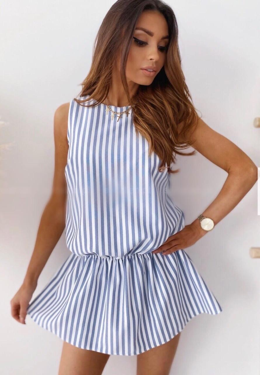 Женское льняное платье в полоску