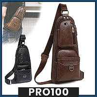 Кожаная сумка через плечо Jeep 777 / Мужская сумка-рюкзак