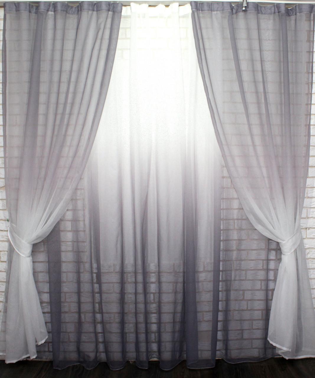 "Комплект растяжка ""Омбре"", ткань батист, под лён.  (2шт. 1,5х2,5м.+4х2,5м.)   Цвет серый с белым 10-009"