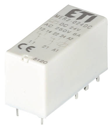 Реле электромеханическое миниатюрное MER2-024 DC 2p ETI, фото 2