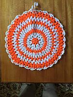 Мочалка вязанная ручной работы (Турция) круглая оранжевая