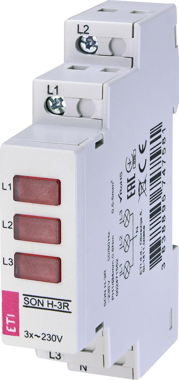 Трехфазный индикатор наличия напряжения SON H-3R (3x красный LED) ETI