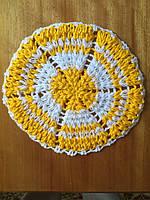 Мочалка вязанная ручной работы (Турция) круглая желтая