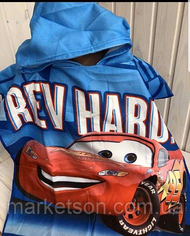 Детское пляжное полотенце пончо с капюшоном Тачки 2020, фото 2