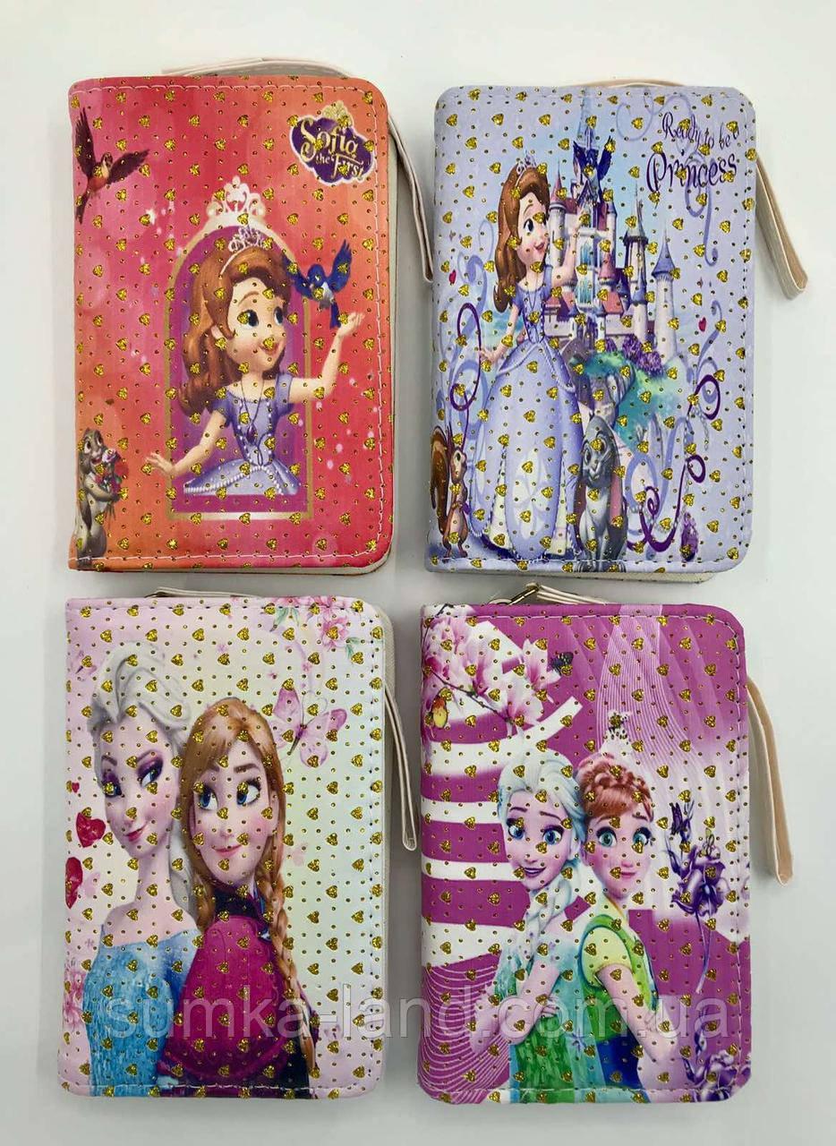 Детские лаковые кошельки Холодное Сердце и Китти для девочек на молнии и с ремешком на руку 16*20 см