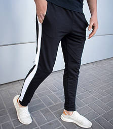 Мужские спортивные штаны брюки трикотажные с лампасами весна-осень-лето черные. Живое фото. 12 расцветок