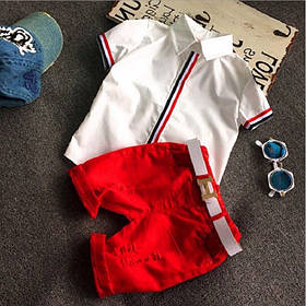 Стильный летний костюм на мальчика рубашка+шорты красный 2-5 лет