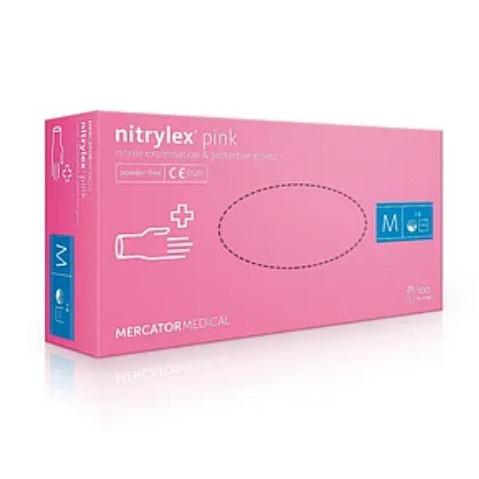 Перчатки Nitrylex PF Pink нитриловые смотровые нестерильные неприпудренные р.М