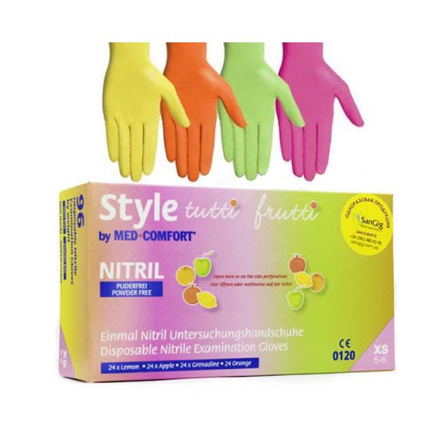 Перчатки Style Tutti Frutti разноцветные нитриловые смотровые нестерильные неприпудренные р.М