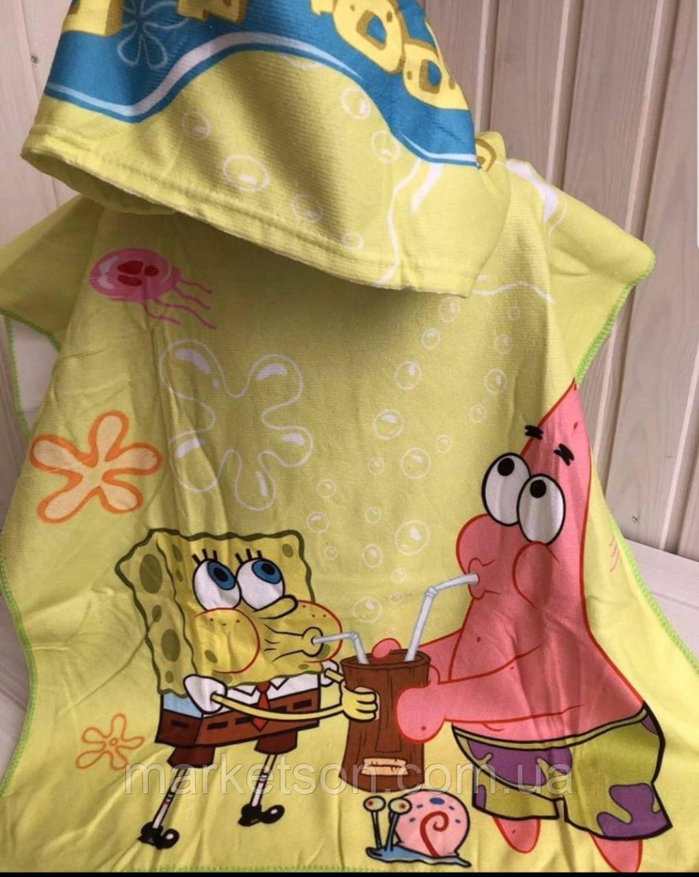 Детское пляжное полотенце пончо с капюшоном Губка Боб 2020