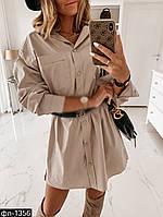 Женское стильное платье-рубашка 2 цвета, фото 1