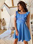 Жіноче ніжне лляне літнє плаття/сарафан з рюшами (в кольорах), фото 3