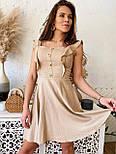 Жіноче ніжне лляне літнє плаття/сарафан з рюшами (в кольорах), фото 6