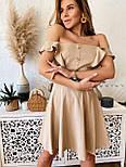 Жіноче ніжне лляне літнє плаття/сарафан з рюшами (в кольорах), фото 7