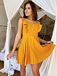 Жіноче ніжне лляне літнє плаття/сарафан з рюшами (в кольорах), фото 9