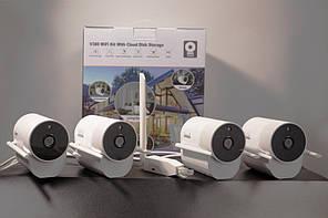 Комплект видеонаблюдения беспроводной на 4 камеры QIDA WIFI XVV420, 200 метров, 2Мп, 1080P, приёмник WiFi RJ45