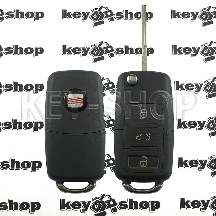Корпус выкидного ключа для Seat (сиат) 3 - кнопки, лезвие HU66