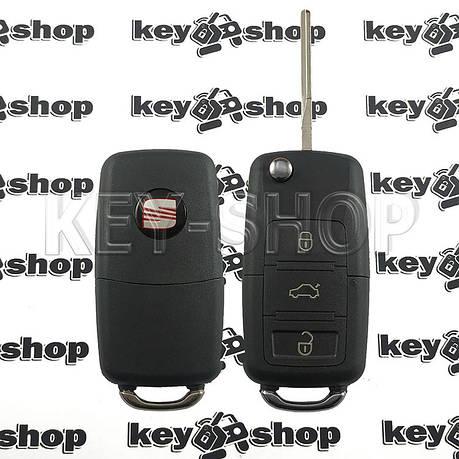 Корпус выкидного ключа для Seat (сиат) 3 - кнопки, лезвие HU66, фото 2