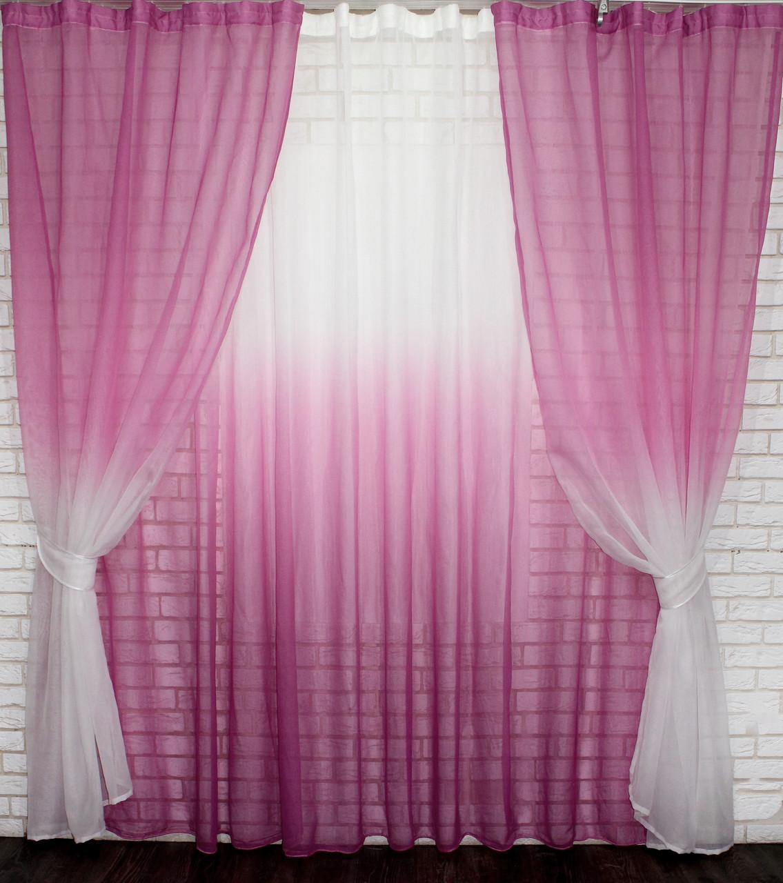 "Комплект растяжка ""Омбре"", ткань батист, под лён.  (2шт. 1,5х2,5м.+4х2,5м.)   Цвет розовый с белым 10-012"
