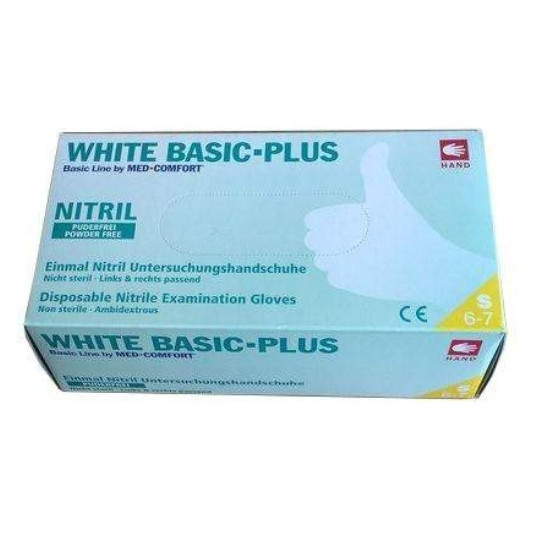 Перчатки White Basic Plus нитриловые смотровые нестерильные неприпудренные р.S