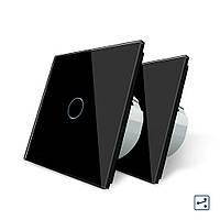 Комплект сенсорных проходных выключателей Livolo цвет черный стекло (VL-C701S-12 2 шт)
