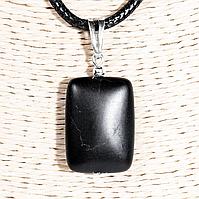 Кулон с бяньши черным нефритом, серебро, 25*18 мм., 1333КЛБ