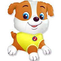 Фольгированный мини-шар щенок в желтом (Flexmetal)
