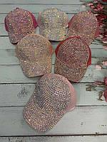 Кепка подростковая для девочки с камнями размер 54 см, цвета указывайте при заказе