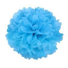 Помпон бумажный голубой  диаметр 20см
