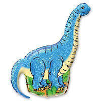 Фольгированный мини-шар Динозавр голубой (Flexmetal)