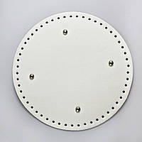 АКЦИЯ Донышко круглое для сумки экокожа Белый Ø 22 см с ножками фурнитура серебро