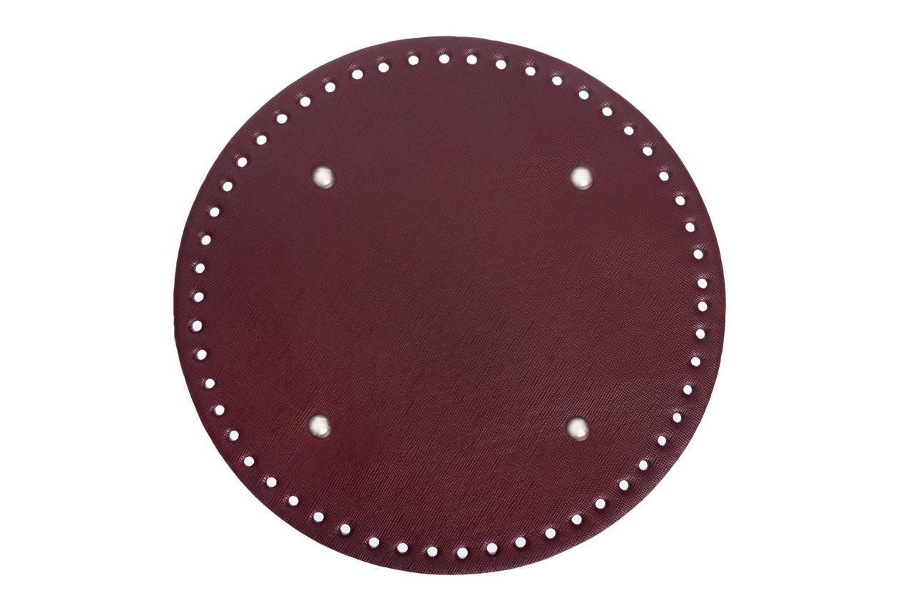 АКЦИЯ Донышко круглое для сумки экокожа Бордо Ø 22 см с ножками фурнитура серебро