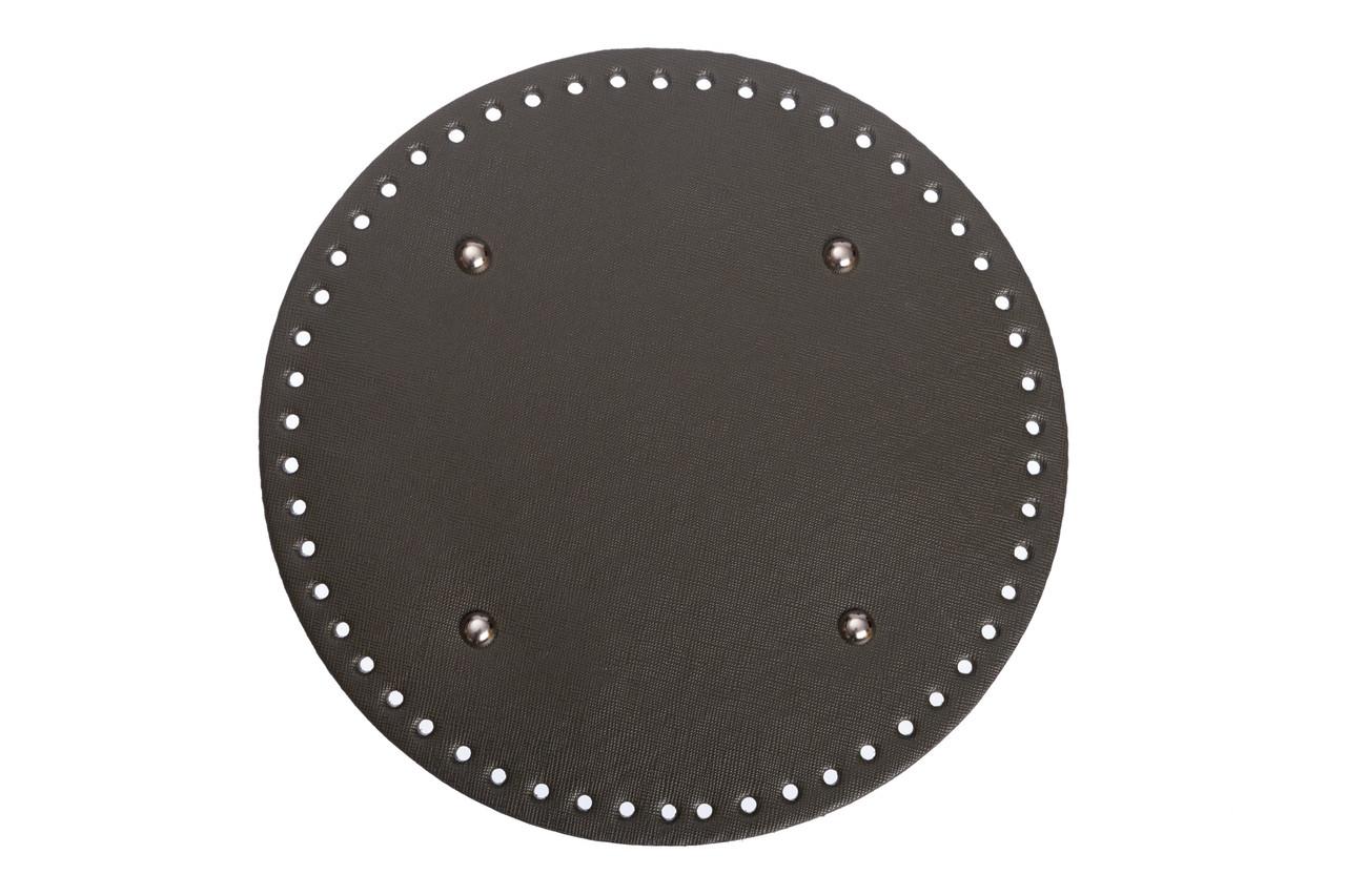 АКЦИЯ Донышко круглое для сумки экокожа Хаки Ø 22 см с ножками фурнитура серебро