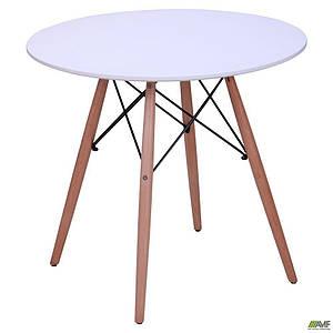 Круглий стіл AMF Helis D-800 мм білий обідня на дерев'яних ніжках