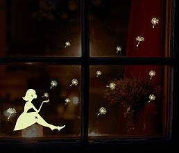 Интерьерная наклейка на стену светящаяся в темноте Девочка с одуванчиками