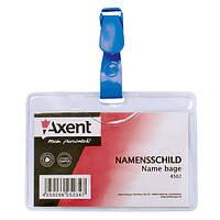 Бейдж Axent с клипом горизонтальный, прозрачный 4502-A