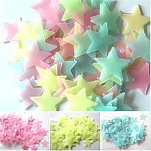 Наклейки на стену Звезды светящиеся в темноте (100 штук)