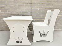 Стол и стул в детскую корона, детская растущая парта  (белая)