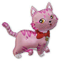 Фольгированный мини-шар кошечка с бантом розовая (Flexmetal)