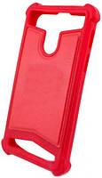 Универсальный Чехол накладка силикон-кожа 5.5-6.0'' Красный