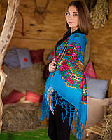 Украинский платок (125х125см, голубой), фото 1