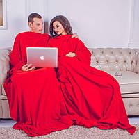 Рукоплед для двоих Плед с рукавами и карманами для двоих из микрофибры 290х180. Красный SKL20-141166