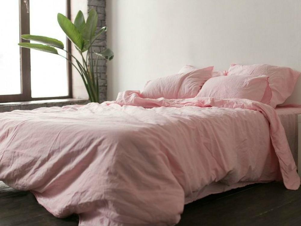Льняна постільна білизна Полуторний комплект Рожевий №1402 льон .
