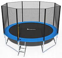 Качественный батут спортивный игровой FunFit 374 см с сеткой + лестница синий с нагрузкой до 150 кг